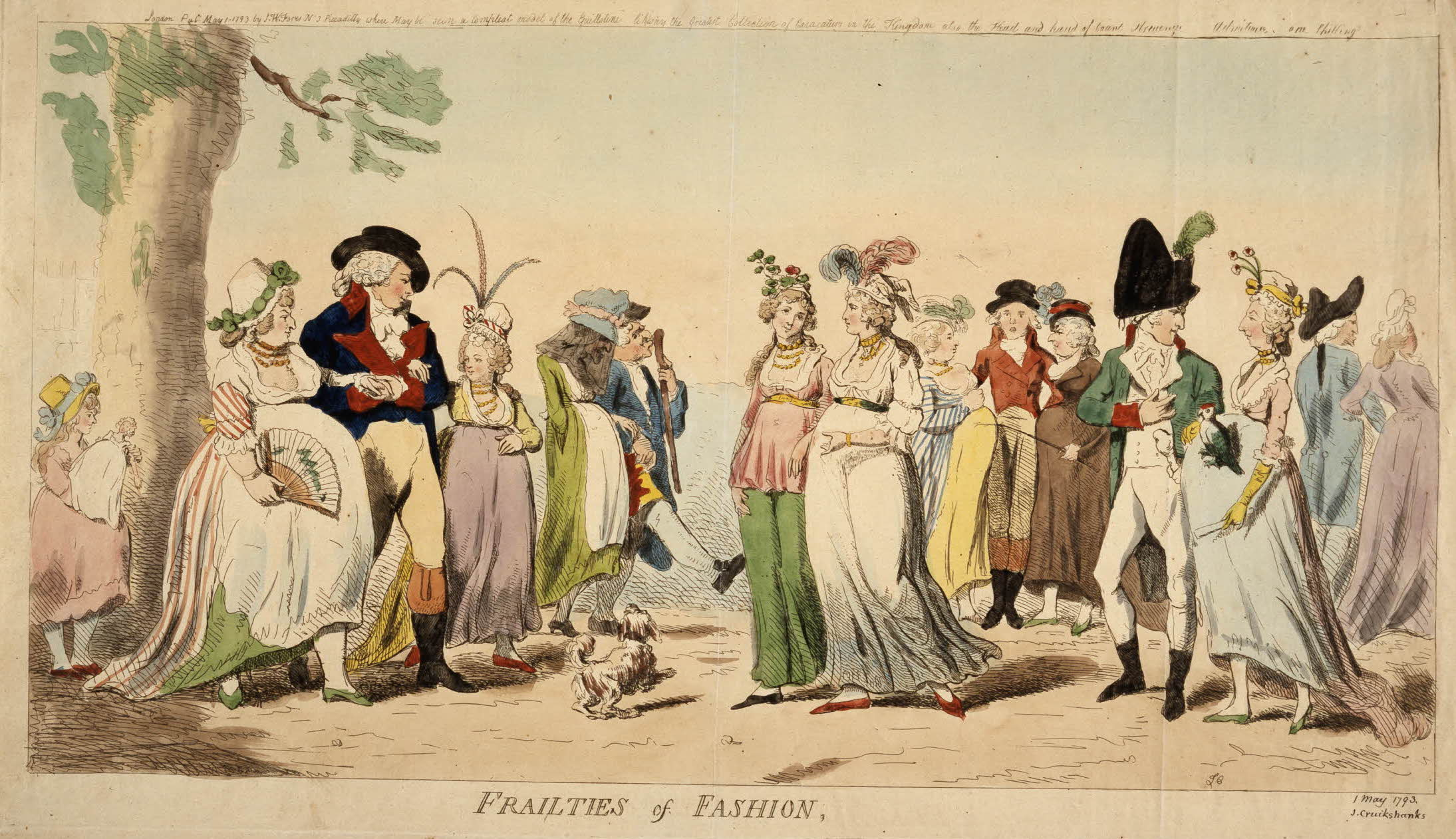 Isaac Cruikshank, Frailties of Fashion, 1793. Hand-colored etching, 299 x  518 mm. British Museum, London. © Trustees of the British Museum.