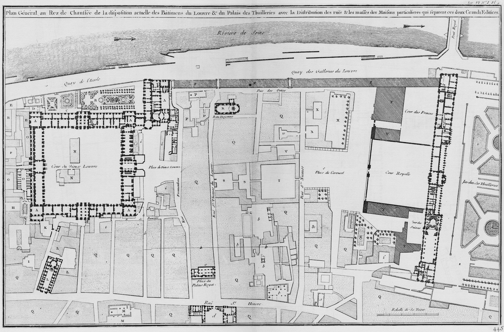 A plan of the louvre s cour carr e and the making of the for Plan du site de la maison
