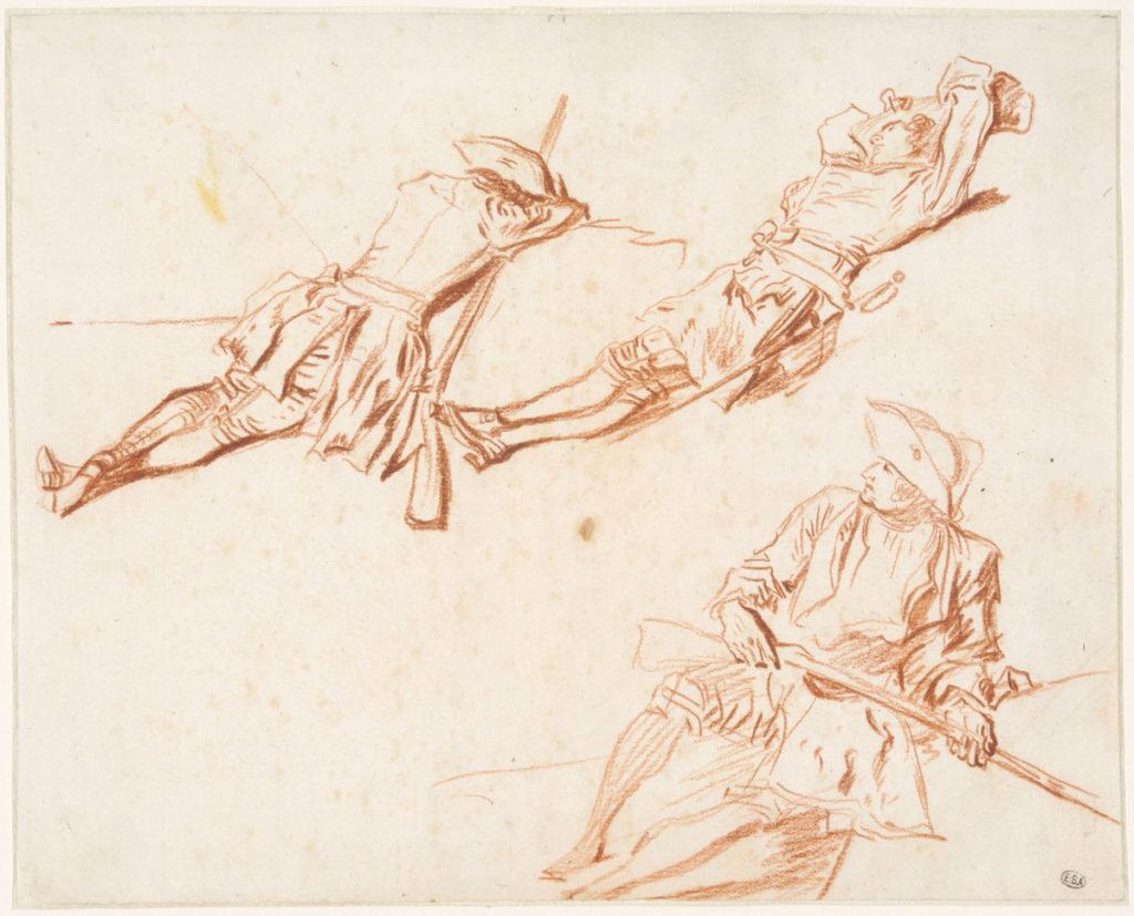 Fig. 2. Jean-Antoine Watteau, Three Studies of Resting Soldiers (recto), ca. 1713–14. Red chalk, 17.5 × 21.7cm. École nationale supérieure des Beaux-Arts, Paris (1608). © Beaux-Arts de Paris, Dist. RMN-Grand Palais / Art Resource, NY.