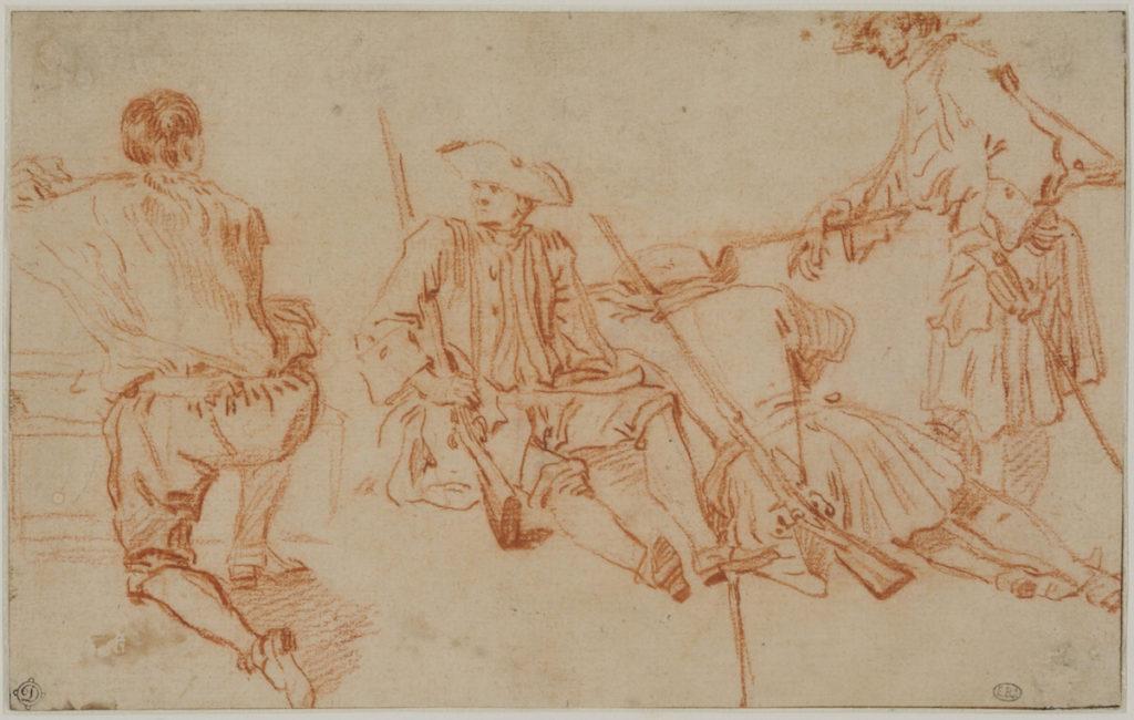 Fig. 4. Jean-Antoine Watteau, Three Studies of a Soldier and a Kneeling Man, ca. 1710. Red chalk, within brown ink framing lines, 12.2 × 19.5 cm. École nationale supérieure des Beaux-Arts, Paris (1605). © Beaux-Arts de Paris, Dist. RMN-Grand Palais / Art Resource, NY.