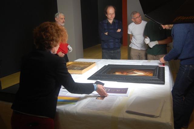 Examining a Jan Lievens from Pau. Photo: Melissa Percival.