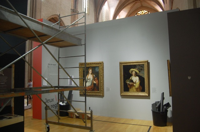 Installation shot with paintings by Bordone and Bloemaert . Photo: Melissa Percival.
