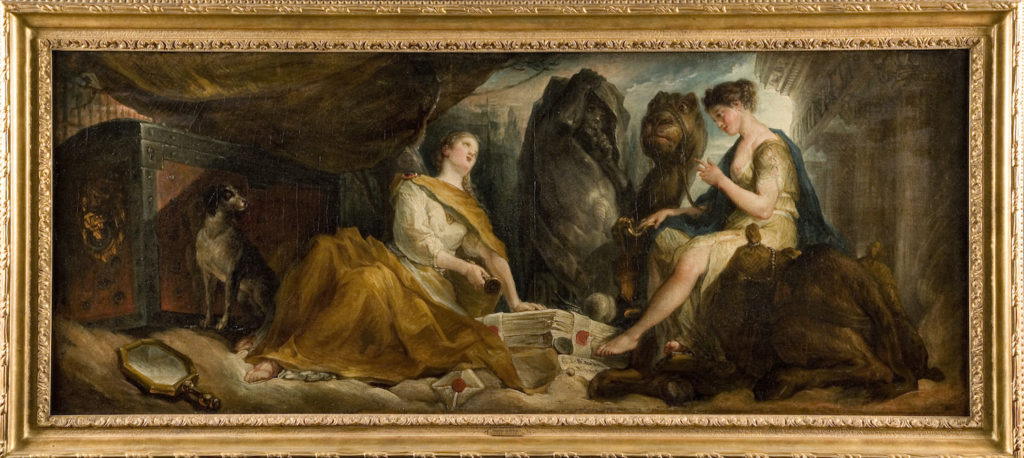 Fig. 2. Gabriel de Saint-Aubin, Allegory of Fidelity and Discretion (Allegory of Archaeology), 1769. Oil on canvas, 48.9 x 122.6 cm. Utah Museum of Fine Arts, University of Utah, Salt Lake City. © Image courtesy of Utah Museum of Fine Arts, University of Utah, Salt Lake City.