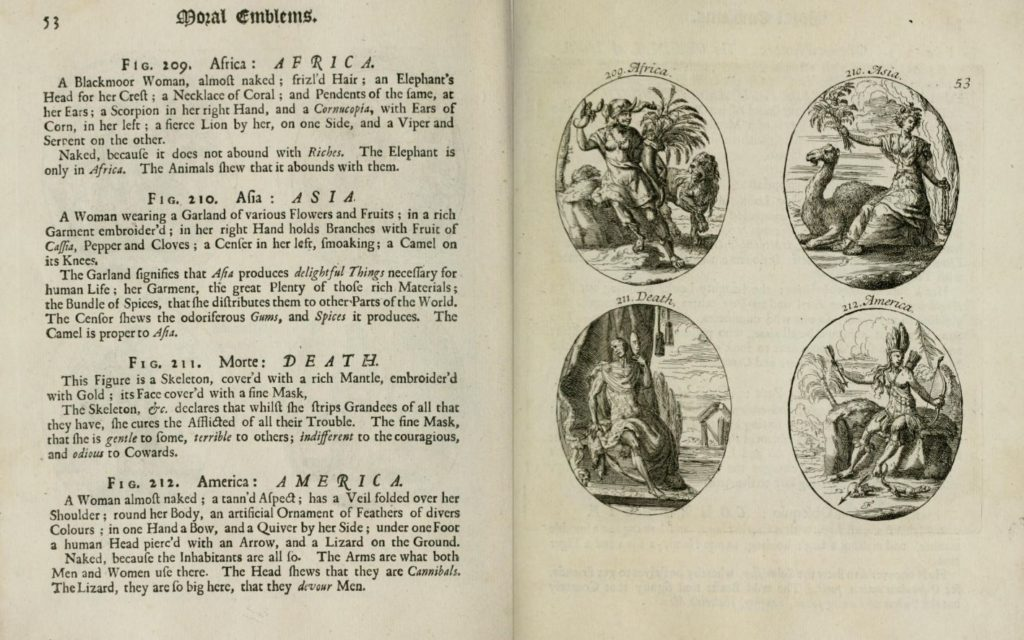 """Fig. 6. Cesare Ripa, """"Asia"""" in Iconologia: or, Moral Emblems, 1709. University of Illinois Urbana-Champaign. © Image courtesy of University of Illinois Urbana-Champaign, www.archive.org."""