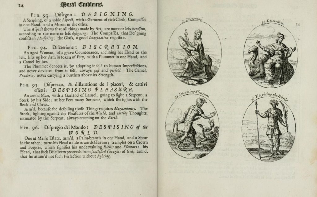 """Fig. 7. Cesare Ripa, """"Discretion"""" in Iconologia: or, Moral Emblems, 1709. University of Illinois Urbana-Champaign. © Image courtesy of University of Illinois Urbana-Champaign, www.archive.org."""