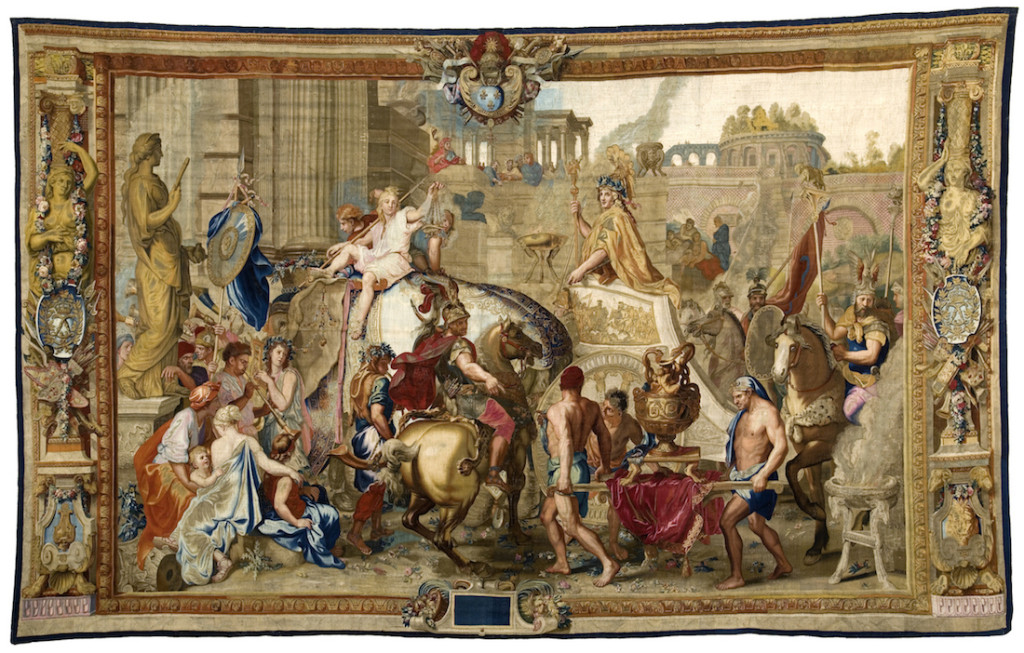 Fig. 2. Workshop of Jean Jans the Elder, Jean Jans the Younger or Jean Lefebvre (After Charles Le Brun), The Entry of Alexander into Babylon, ca. 1665-1672. Wool, silk, gilt metal- and silver-wrapped thread, 495 x 810 cm. Le Mobilier National. Image © Le Mobilier National. Photo by Lawrence Perquis.