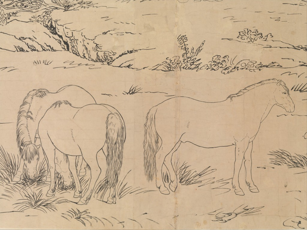 Detail of draft sketch for One Hundred Horses (dateable to 1723-25), handscroll, ink on paper (Metropolitan Museum of Art, New York). Image courtesy of www.metmuseum.org.