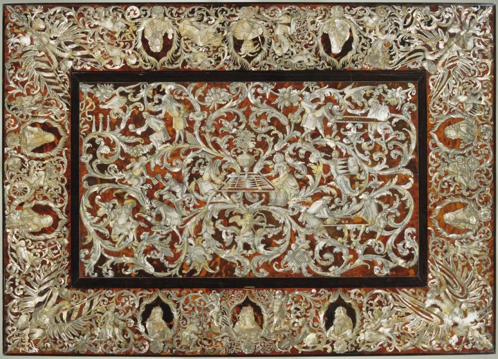 Fig. 1. Game table of Kürfurst Max Emanuel von Bayern Augsburg (workshop unknown), ca. 1683-1692. Oak, spruce, ebony, tortoise shell, mother of pearl, 76.2 x 104.0 x 75.0 cm. Bayerisches Nationalmuseum, Munich. Photo: © Bayerisches Nationalmuseum, Munich.