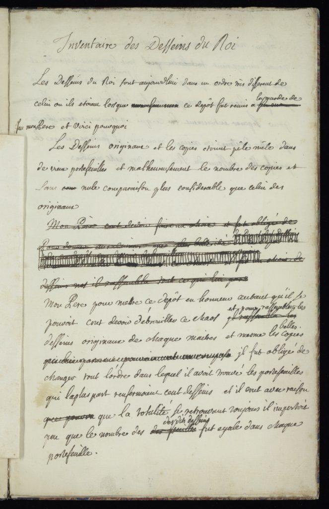 """Fig. 2. Charles Coypel, """"Inventaire des Desseins du Roi,"""" 1728. Institut Custodia, Paris, Inv. 9555. © Image courtesy of Institution Custodia, Paris."""