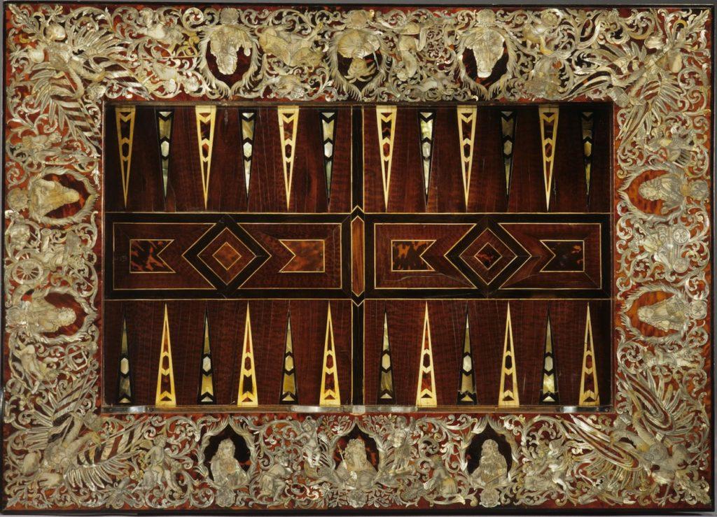 Fig. 3. Game table of Kürfurst Max Emanuel von Bayern Augsburg (workshop unknown), ca. 1683-1692. Oak, spruce, ebony, tortoise shell, mother of pearl, 76.2 x 104.0 x 75.0 cm. Bayerisches Nationalmuseum, Munich. Photo: © Bayerisches Nationalmuseum, Munich.