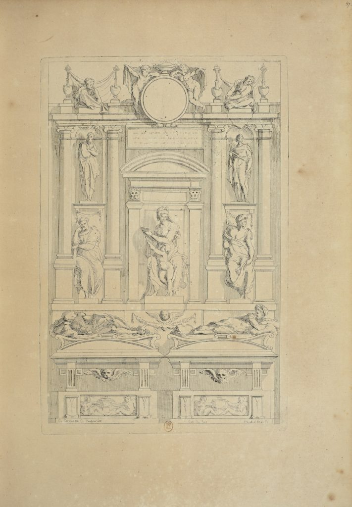 Fig. 3. Charles Coypel and comte de Caylus, after a drawing attributed to Michelangelo, Study for a Medici Tomb in San Lorenzo. Etching and engraving, 30.5 x 19.8 cm. Bibliothèque Nationale de France, Paris, inv. No. E. 98b, in fol., p. 415. © Bibliothèque Nationale de France, Paris.