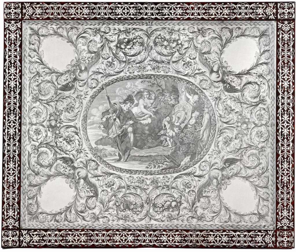 Fig. 4. Tabletop, Augsburg (workshop unknown), ca. 1690-1710. Silver, tortoise shell (engraved). Victoria and Albert Museum, London. Photo: © Victoria and Albert Museum, London.