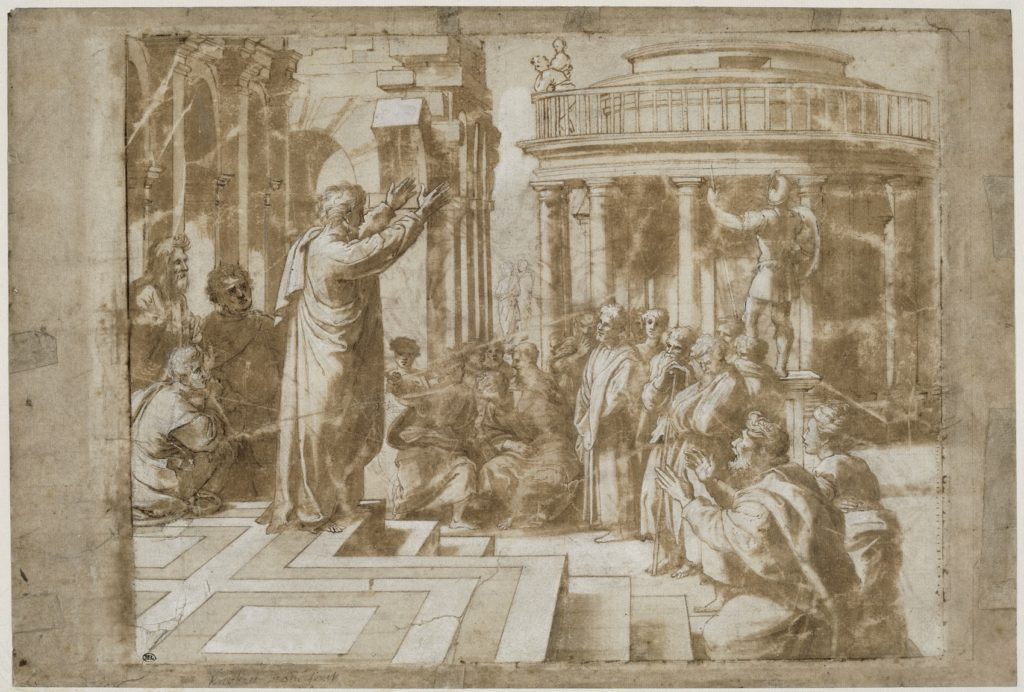 Fig. 5. School of Raphael, Saint Paul Preaching to Athens. Brush with brown wash, heightened with white, 27 x 40 cm. Musée du Louvre, Paris. © Musée du Louvre, Paris.