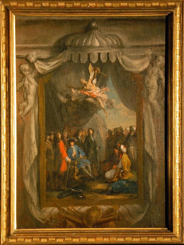 Fig. 7. Jacopo Amigoni, Kürfurst Max Emanuel von Bayern receives the Turkish embassy in Belgrad, 1723. Oil on Canvas, 66.7 x 48.5 cm. Bayerisches Nationalmuseum, Munich. Photo: © Bayerisches Nationalmuseum, Munich.