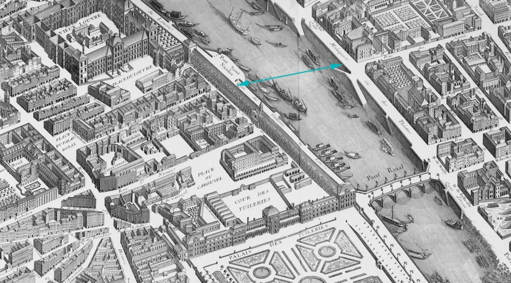 Fig. 7. Louis Brétez (cartographer) and Claude Lucas (engraver), Detail of the Plan de Turgot (showing sightline between the Galerie du Louvre and the Quai Malaquais), 1739. Image source: Wikimedia Commons.