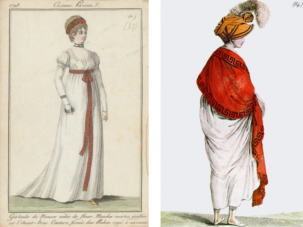 LEFT: Fig. 3. Costume Parisien, Plate no. 27, Journal des dames et des modes, 1798. Image source: Pinterest. RIGHT: Fig. 4. Costume Parisien, Plate no. 94, Journal des dames et des modes, 1799. Image source: Wikimedia Commons.