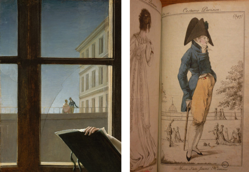 LEFT: Fig. 5. Detail of Fig. 1. RIGHT: Fig. 6. Costume Parisien, Plate no. 397, Journal des dames et des modes, Year X. Collection: Bibliothèque Forney, Paris. Photograph by the author.