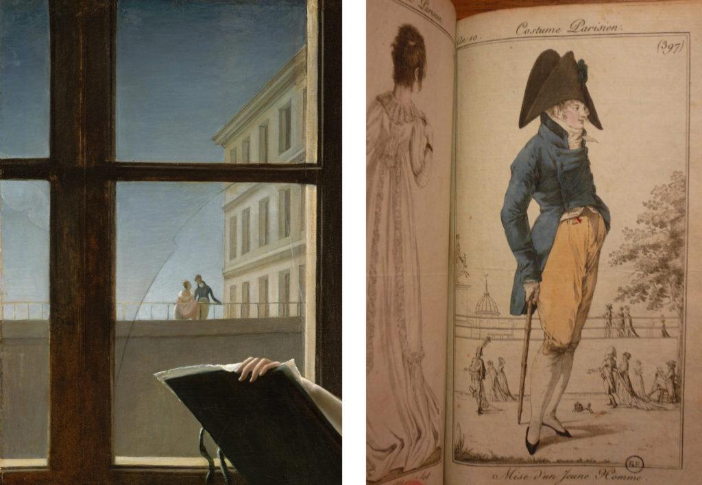LEFT: Fig. 5. Detail of Fig. 1. RIGHT: Fig. 6. Costume Parisien, Plate no. 397, Journal des dames et des modes, Year X. Collection: Bibliothèque Forney, Paris. Photograph by the author.