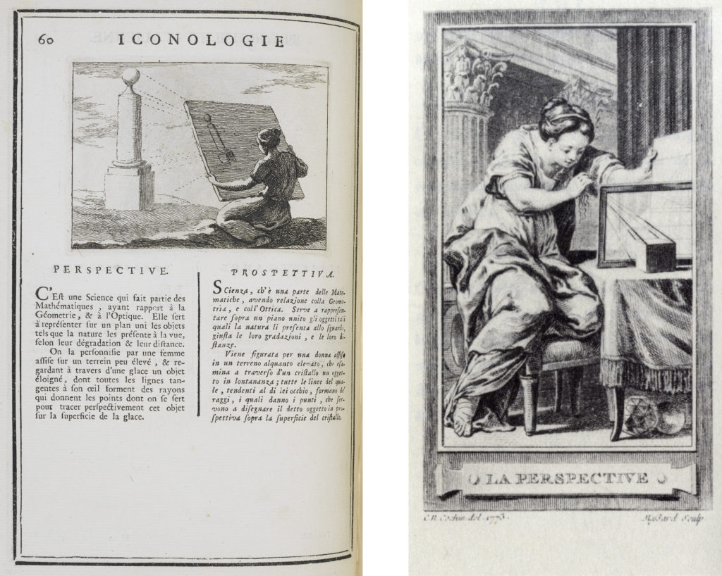 "LEFT: Fig. 8. Jean-Baptiste Boudard, ""Perspective,"" Iconologie Tirée de divers auteurs. Ouvrage Utile aux Gens de Letters, aux Poëtes, aux artistes, & généralement à tous les Amateurs des Beaux-Arts, vol. 3 (Vienna: Jean-Thomas de Trattnern, 1766), 60. Collection: Avery Library, Columbia University. RIGHT: Fig. 9. Gravelot [Hubert-François Bourguignon] and Charles Nicolas Cochin, ""Perspective,"" Fig. 15 in Iconologie par figures; ou traité complet des allégories emblèmes etc. à l'usage des artistes, en 350 figures, vol. 4, 1772 (Geneva: Minkoff, 1972). Collection: Avery Library, Columbia University."