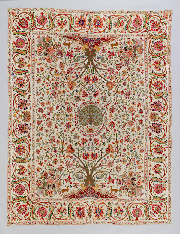 Fig. 2 Palampore. Deccan, India, 1710-1750. Cotton embroidered with silk and metal-wrapped threads. Peabody Essex Museum, Veldman-Eecen Collection. © Photo by Fotostudio John Stoel.
