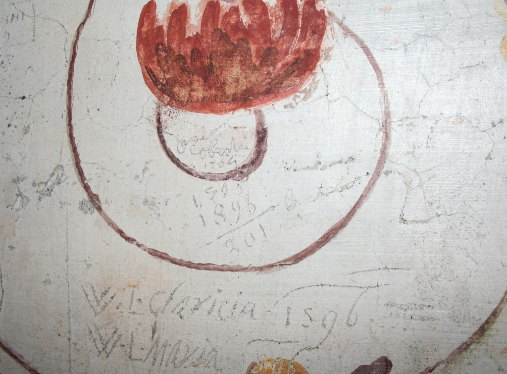 """Fig. 1. Graffiti """"tag"""" left by Hubert Robert in 1764 at Villa Farnese, Caprarola. Photo by the author."""