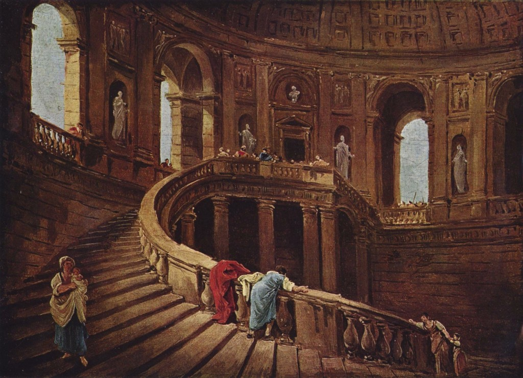 Fig 2. Hubert Robert, Staircase in the Palace of Caprarola, oil on canvas, 25 x 34 cm, 1764. Paris, Musée du Louvre. Image: Wikimedia Commons.