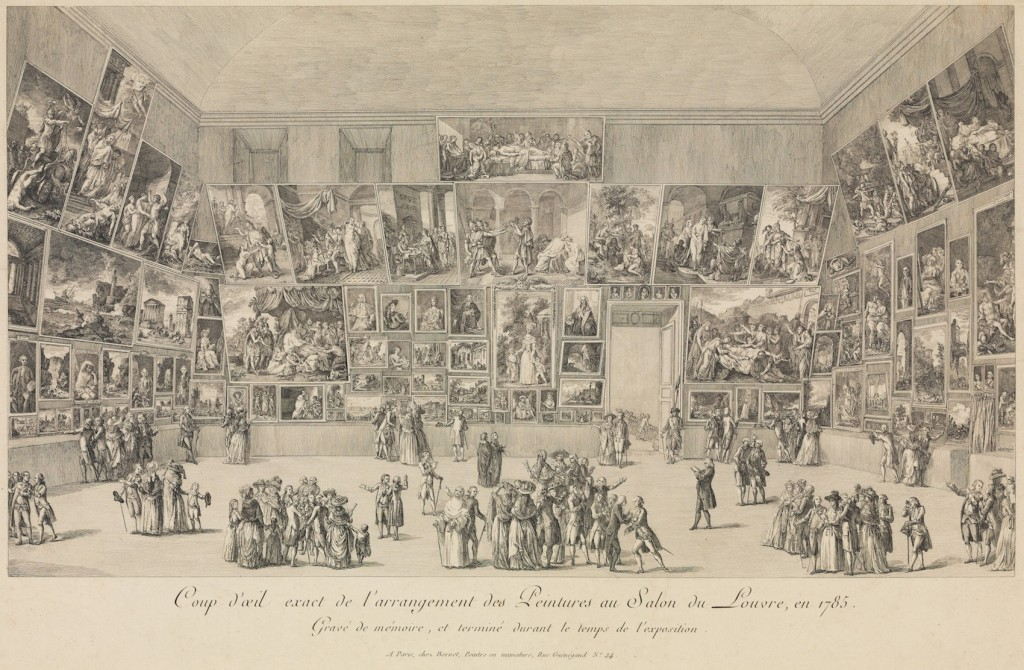 Fig. 4. Pietro Antonio Martini, View of the Salon at the Louvre in 1785, etching, 276 x 486 mm. A. Hyatt Mayor Purchase Fund, Marjorie Phelps Starr Bequest, 2009, Metropolitan Museum of Art, New York. © Image courtesy of www.metmuseum.org.