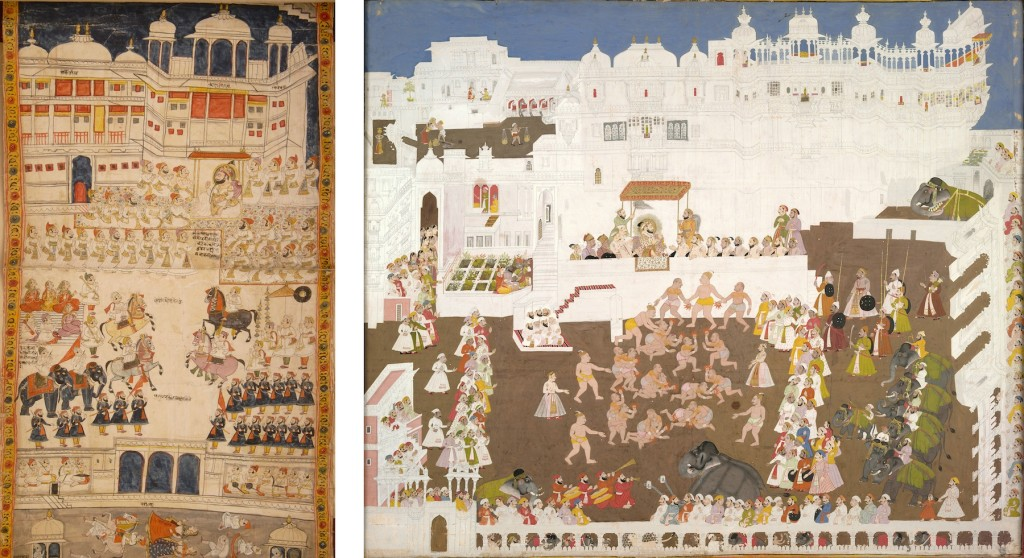 LEFT: Fig. 10. Jawan Singh with his sixteen nobles in a durbar held at the large-assembly hall (bada darikhana) in the palace. Detail of Fig. 1. RIGHT: Fig. 11. Unknown artist, Maharana Sangram Singh II and Durga Das Rathore of Jodhpur watching Jethi wrestlers at Manek Chowk, 1716-18, Opaque watercolor and gold on paper, 82 x 94 cm. Udaipur: City Palace Museum (Accession No. 2012.19.0028) © Image: Courtesy of Museum Archives of the Maharanas of Mewar, MMCF, Udaipur.