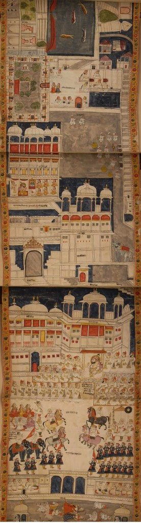 Fig. 12. Udaipur artist's adaptation of palace environs from horizontal format of court painting within vertical format of scroll. Detail of Fig. 1.