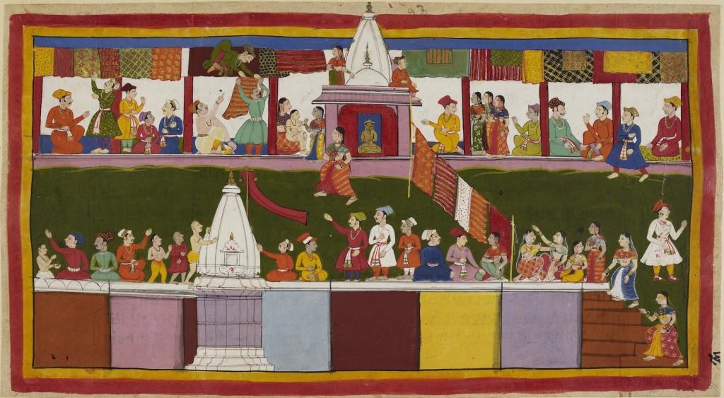 Fig. 16. Sahibdin, Bazaar Street in Ayodhya, Ayodhyakhanda of the Jagat Singh Ramayana, 1650, Opaque watercolor on paper, 23.0 x 39.9 cm. London: The British Library (Add.MS 15296 (1),f.16a) © Image: Courtesy of The British Library Board.
