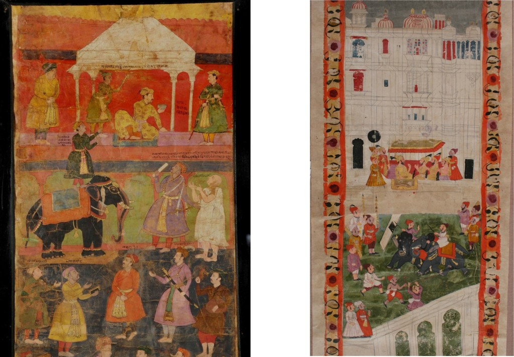 LEFT: Fig. 4. Salivahana, Emperor Jahangir's proclamation at the request of Jain monks, Detail from Agra Vijnaptipatra, 1610, Opaque Watercolor and ink on paper, 284.7 x 32.2 cm. Ahmedabad: Lalbhai Dalpatbhai Museum (Acc.no.LDII.542 (Detail)). © Image: Courtesy of Lalbhai Dalpatbhai Museum. RIGHT: Fig. 5. Unknown artist, Portrait of Ari Singh in a durbar overlooking the Manek chowk courtyard within his palace, based on contemporaneous Udaipur court paintings, Detail from Udaipur Vijnaptipatra, 1774, Opaque Watercolor, gold and ink on paper, 284.7 x 32.2 cm. Ahmedabad: Lalbhai Dalpatbhai Museum (Acc.no.LDII.Gol.85 (Detail)). © Image: Courtesy of Lalbhai Dalpatbhai Museum.