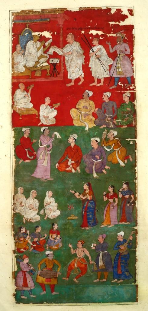 Fig. 6. Salivahana, Receipt of the scroll by Jain Pontiff Vijaysena Suri, Detail from Agra Vijnaptipatra, 1610, Opaque Watercolor and ink on paper, 284.7 x 32.2 cm. Ahmedabad: Lalbhai Dalpatbhai Museum (Acc.no.LDII.542 (Detail)). © Image: Courtesy of Lalbhai Dalpatbhai Museum.
