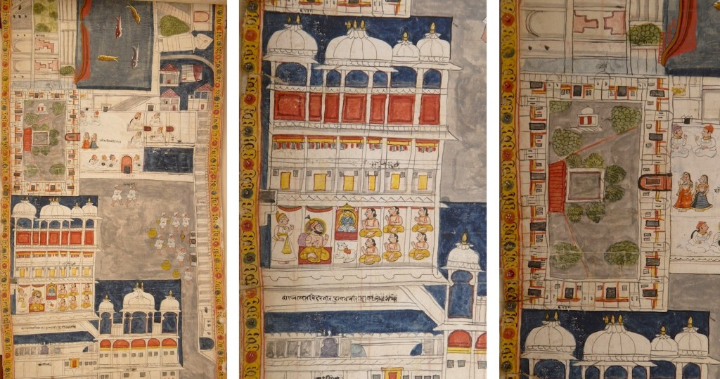 LEFT: Fig. 9. Jawan Singh dinning privately in the dinning hall adjacent to the palace kitchen courtyard. Detail of Fig. 1. CENTER: Fig. 9a. Jawan Singh performing rituals at the court-temple. Detail of Fig. 9. RIGHT: Fig. 9b. Planimetric view of the women's palace. Detail of Fig. 9.