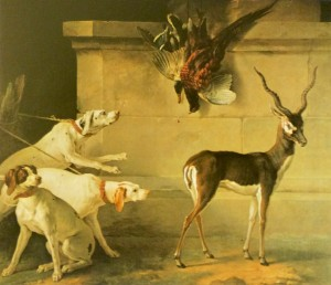 Fig. 14. Jean-Baptiste Oudry (and studio?), Indian Blackbuck, Three Dogs and Pheasants, oil on canvas, 1745. Blessington Collection, Russborough House, Ireland. Image used with permission of Russborough House.