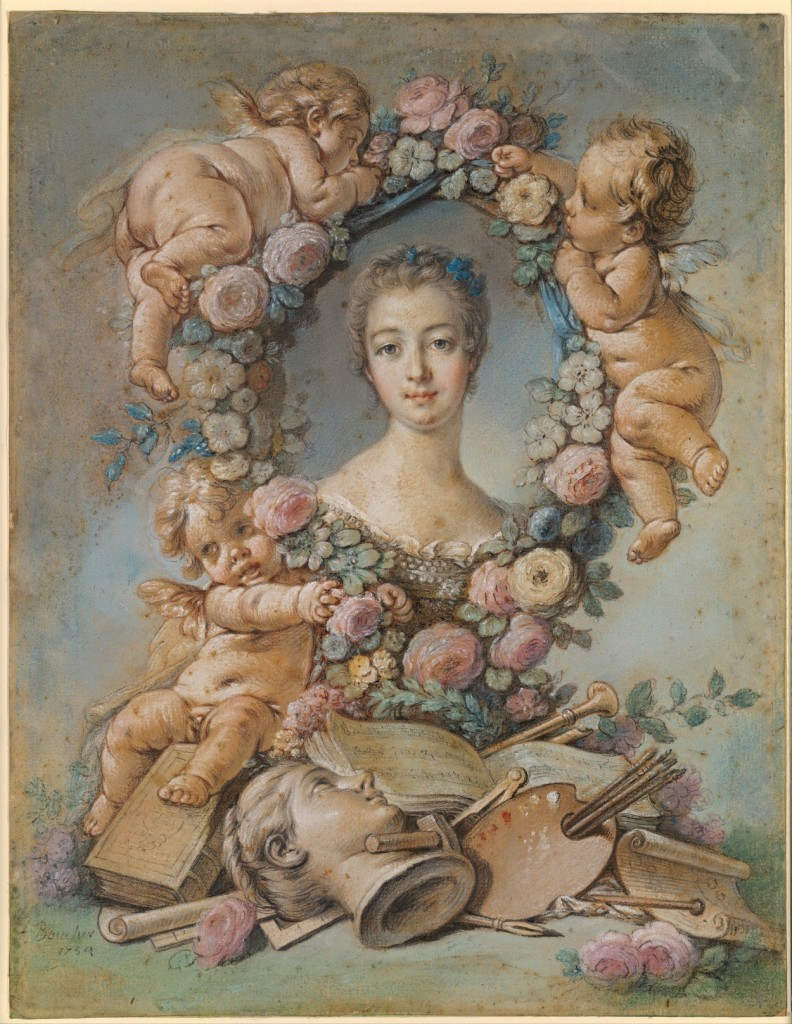 Fig. 16. François Boucher and studio, Madame de Pompadour with Attributes of the Arts, pastel on blue paper, 1754. National Gallery of Victoria, Melbourne. Image: Wikimedia Commons.