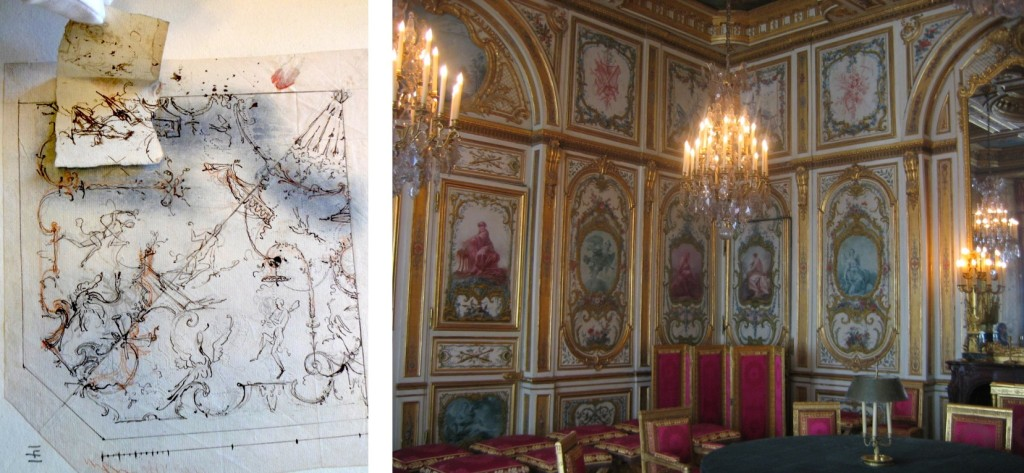 LEFT: Fig. 18. Audran workshop, Arabesque design with tipped-in elements, c. 1710. Nationalmuseum, Stockholm. Image used with permission of Nationalmuseum Stockholm. RIGHT: Fig. 19. Salle du Conseil, château de Fontainebleau, c.1753. Overall design by Ange-Jacques Gabriel, carving by Jacques Verberckt, and paintings by François Boucher, Carle Vanloo, Jean-Baptiste Marie Pierre and Alexis Peyrotte. Image: Wikimedia Commons.