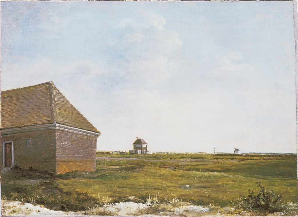 Fig. 5. George Stubbs, Newmarket Heath, with the 4-Miles Stables Rubbing House at the Start of the Beacon Course, oil on canvas, c.1765. Tate Britain, London. Image: © Tate, London 2016.
