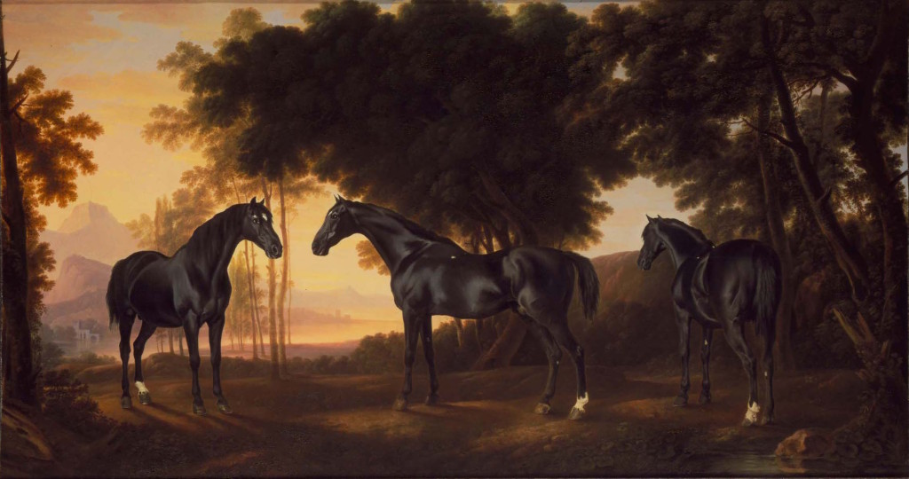 Fig. 7. George Stubbs with additions by another landscapist, The Black Stallion Sampson, Portrayed from Three Angles, oil on canvas, c.1764. Private collection. Image: © Courtesy of C. Simon Dickinson Limited, London.