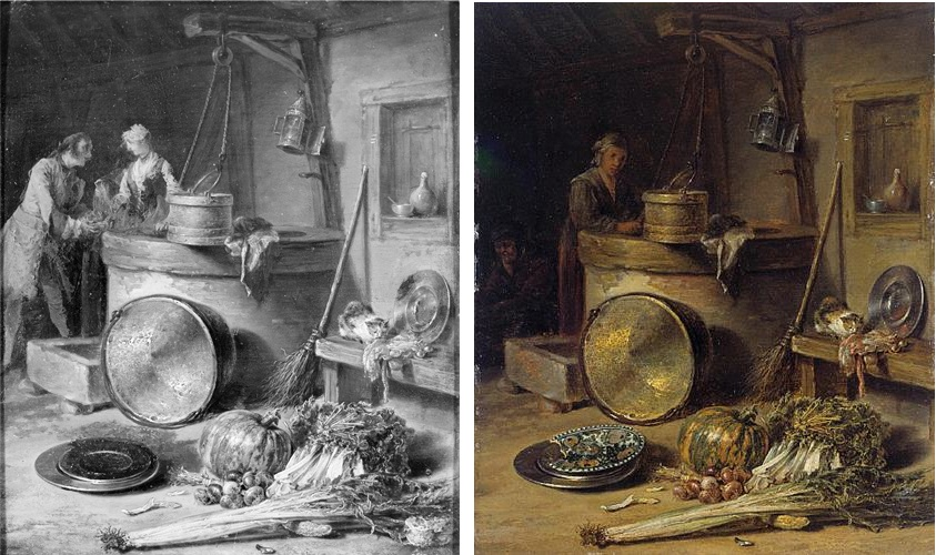 LEFT: Fig. 8. Willem Kalf with additions by Nicolas Lancret, Kitchen Interior, oil on panel, c. 1645 / c.1735. Photograph before conservation. The Saint Louis Museum of Art. Image courtesy of The Frick Art Reference Library. RIGHT: Fig. 9. Willem Kalf, Kitchen Interior, oil on panel, c. 1645. Photograph after conservation. The Saint Louis Museum of Art. Image: Wikiart.