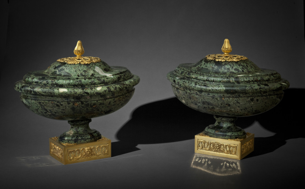 Fig. 6. Pair of verde antico marble vases mounted in gilt bronze, c. 1770. Private collection.
