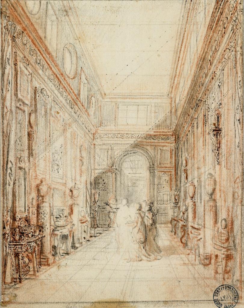 Fig. 7. Gabriel de Saint Aubin, The Randon de Boisset Gallery, 1777. Musée des arts décoratifs, Lyon, Hennezel 5272.a © Lyon, MTMAD – Sylvain Pretto.