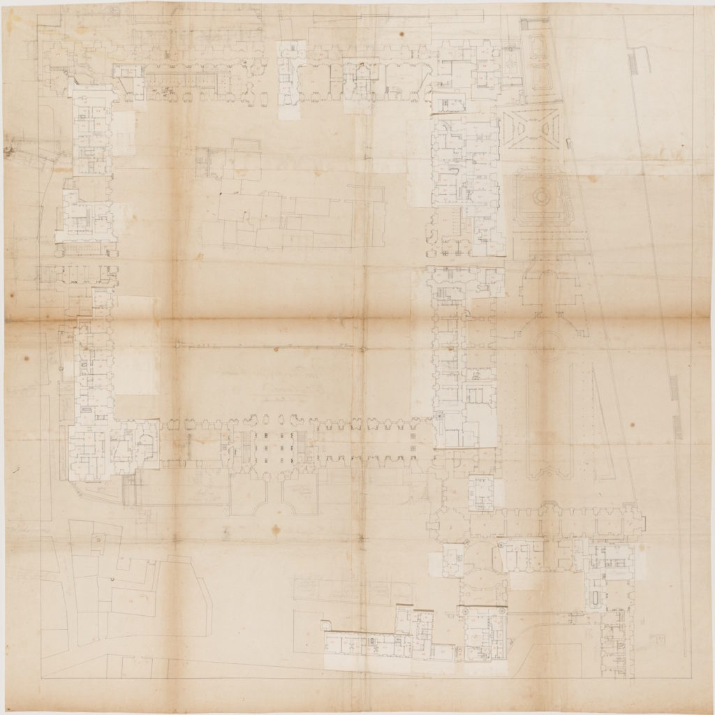 Fig.1. Plan of the ground floor of the Cour Carrée with mezzanines, ink and graphite additions on paper, 92 x 92 cm, 1745-1754. Collection Centre Canadien d'Architecture/ Canadian Centre for Architecture, Montréal. DR1986:0695:059.