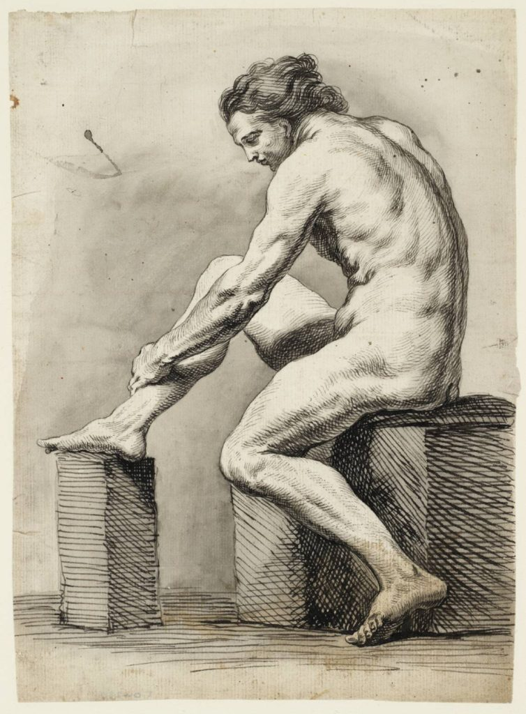 Fig.6. Joseph Highmore, Academy Study of a Male Nude, date not known. Ink and watercolour on paper, support 23.3 x 17 cm. Image released under Creative Commons CC-BY-NC-ND (3.0 Unported) © Tate 2016.