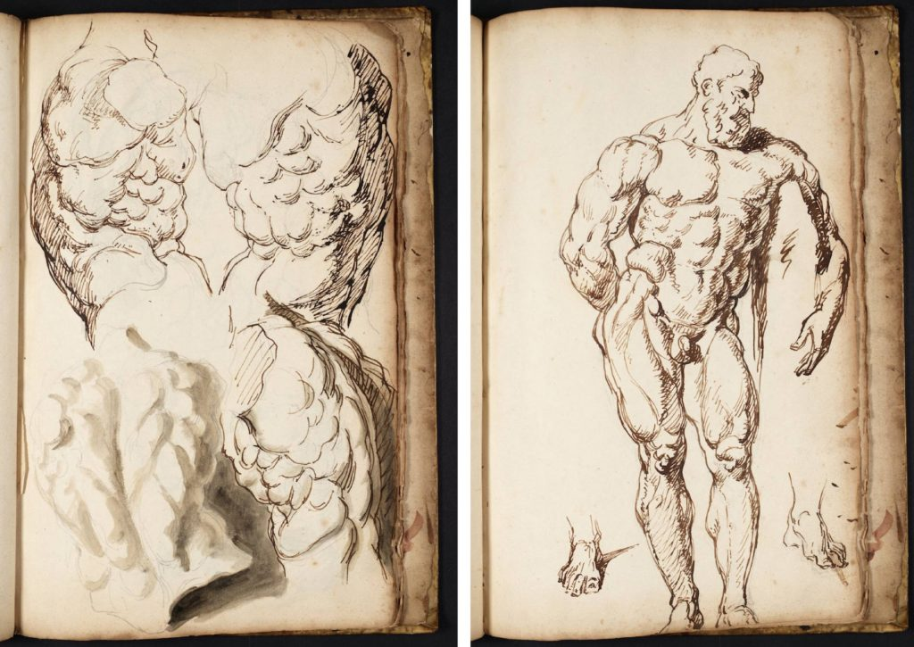LEFT: Fig.3. Joseph Highmore, Four Studies of the Belvedere Torso, date not known [1734?]. Pencil, pen and ink and wash on paper, support 35.4 x 23 cm. Image released under Creative Commons CC-BY-NC-ND (3.0 Unported) © Tate 2016. RIGHT: Fig.4. Joseph Highmore, Study of the Farnese Hercules, date not known [1734?]. Ink and graphite on paper, support 35.4 x 23 cm. Image released under Creative Commons CC-BY-NC-ND (3.0 Unported) © Tate 2016.