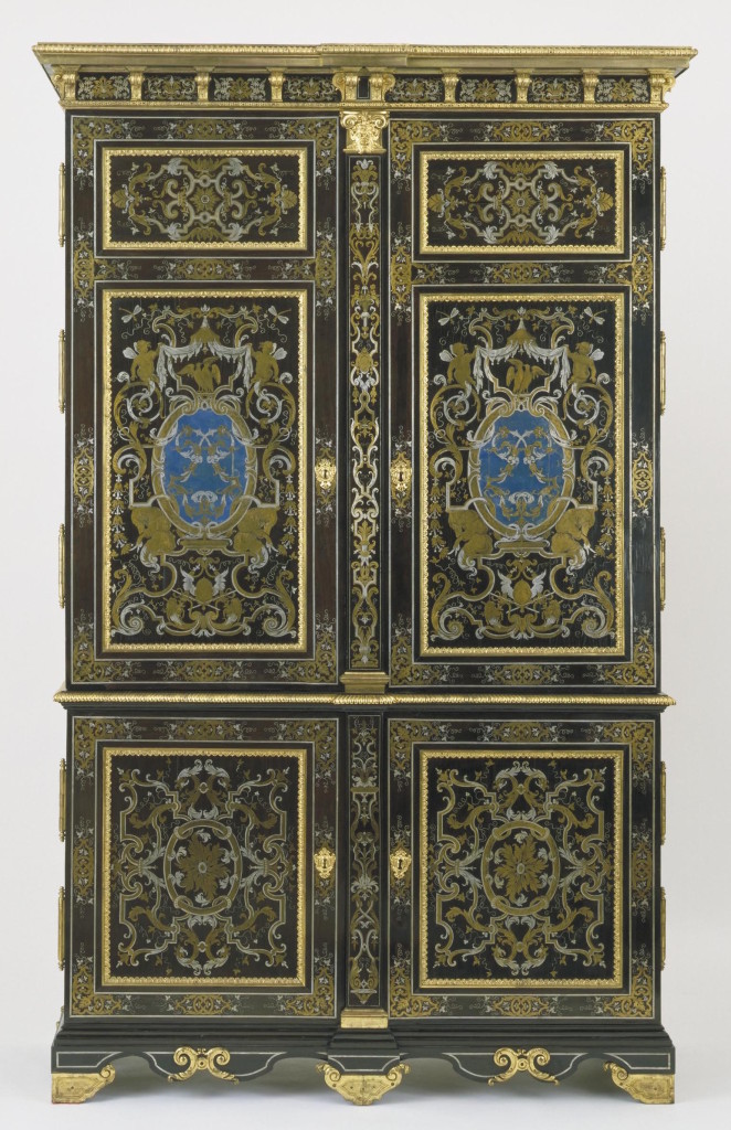 Unknown maker, boulle marquetry armoire, c. 1700, ebony veneers, engraved pewter , brass and horn marquetry on an oak carcase, bequeathed by Mr John Jones, London. © Victoria and Albert Museum, London.