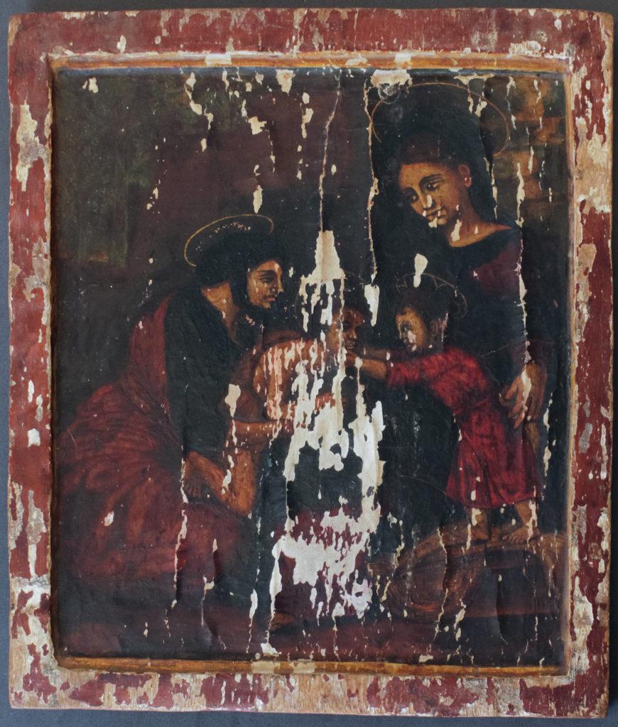 Fig. 1. Unidentified Ethiopian artist, The Little Holy Family (ቅዱስ ቤተሰብ), c. 18th century. Unknown paint on wood panel, 36.5 x 32 x 1.5 cm. Musée du Quai Branly-Jacques Chirac, 71.1931.3600. Photograph by the author, 2015.