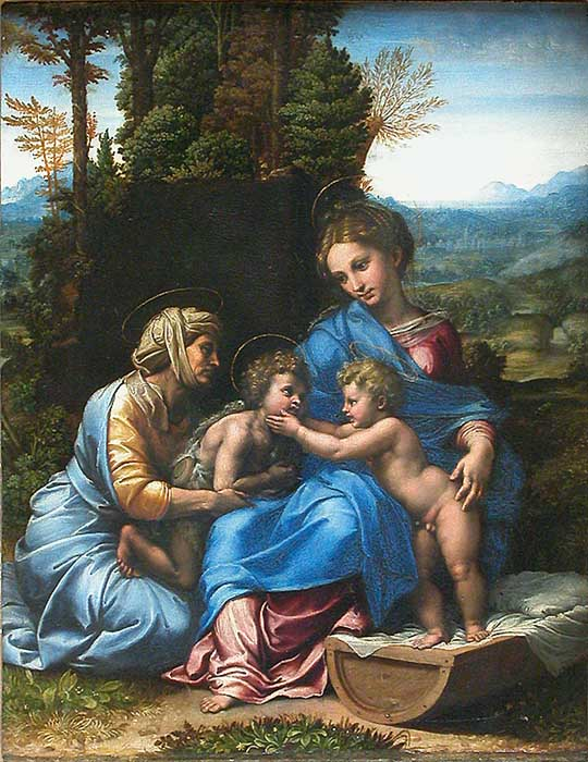 """Fig. 2. Workshop of Raphael, attributed to Giulio Romano, The Virgin with Child, Saint Elizabeth, and the Child Saint John the Baptist in a Landscape, called """"The Little Holy Family,"""" c. 1518. Wood, 0.38 m x 0.32 m. Musée du Louvre, Inv. 605 © Musée du Louvre/A. Dequier - M. Bard."""