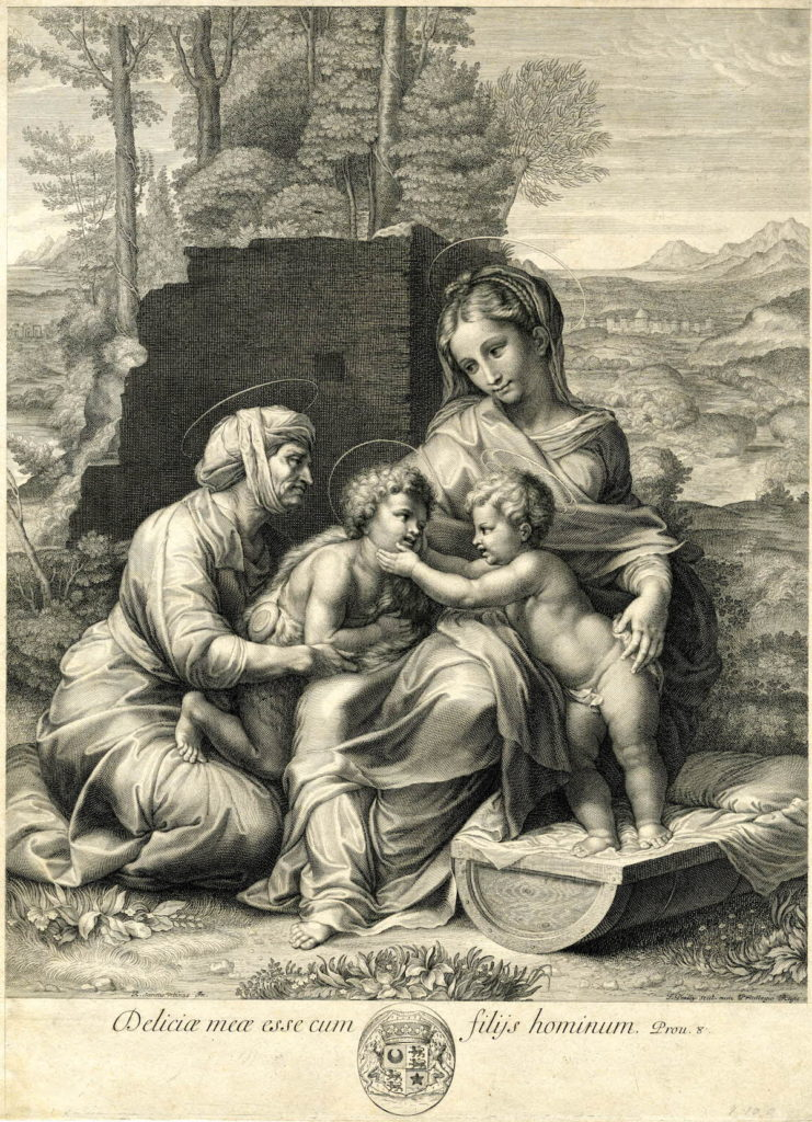 Fig. 3. François de Poilly, The Little Holy Family, 1648-1681. Engraving, 407 mm x 301 mm. The British Museum, 1917,1208.1533. CC BY-NC-SA 4.0 © The Trustees of the British Museum.